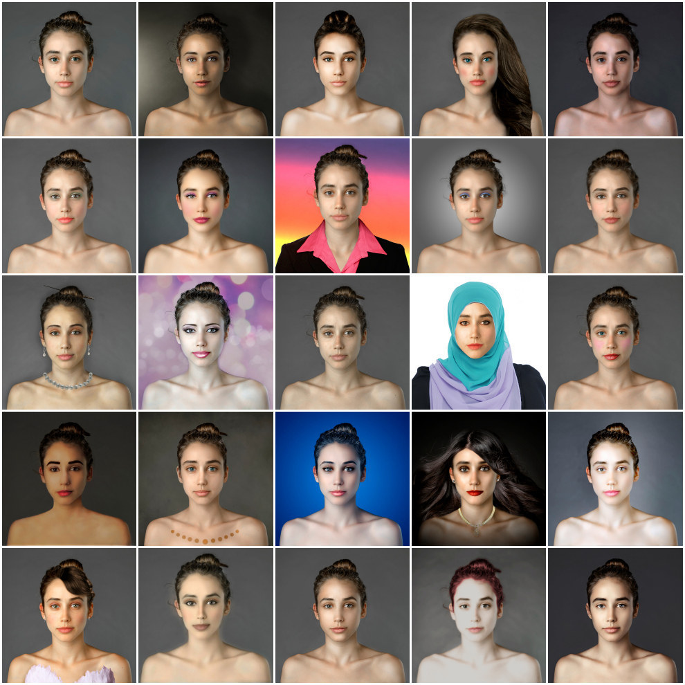 Esther Honig's Before and After experiment (Original unaltered photo is the at the third row, third column)