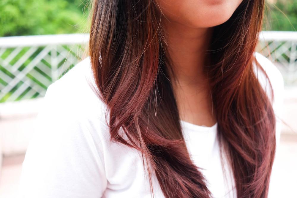 My pink dip-dyed hair