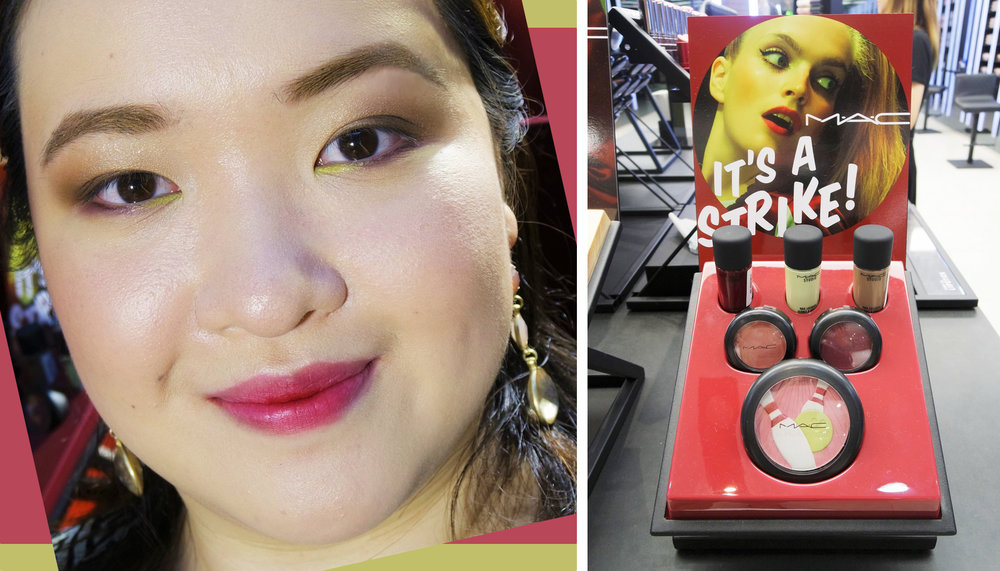 On me: Eyeshadows in 300 Game and Bowlarama; Lipstick in Babes and Balls
