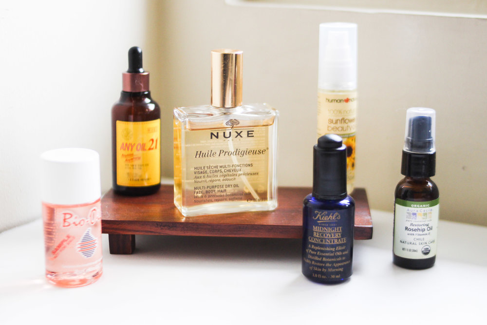 Top beauty oils to try: Bio-Oil, Etude House Any Oil 21, Nuxe Huile Prodigieuse, Human Nature Sunflower Beauty Oil, Kiehl's Midnight Recovery Concentrate, Organic Rosehip Oil from Healthy Options
