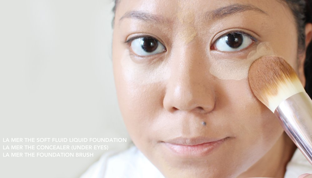 Using the La Mer liquid foundation (mixed with the concealer), concealer (under eyes), and powder in this look!