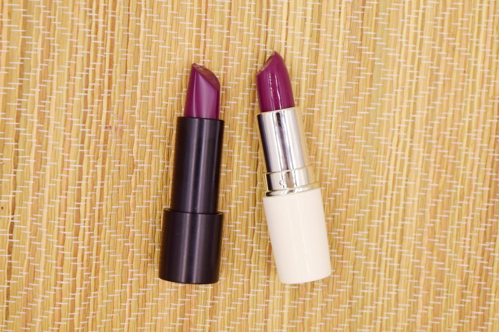 The Make Up Factory Magnetic Lipstick in Ultra Plum (left) and Ever Bilena Advance Lipstick in Tyra (right)