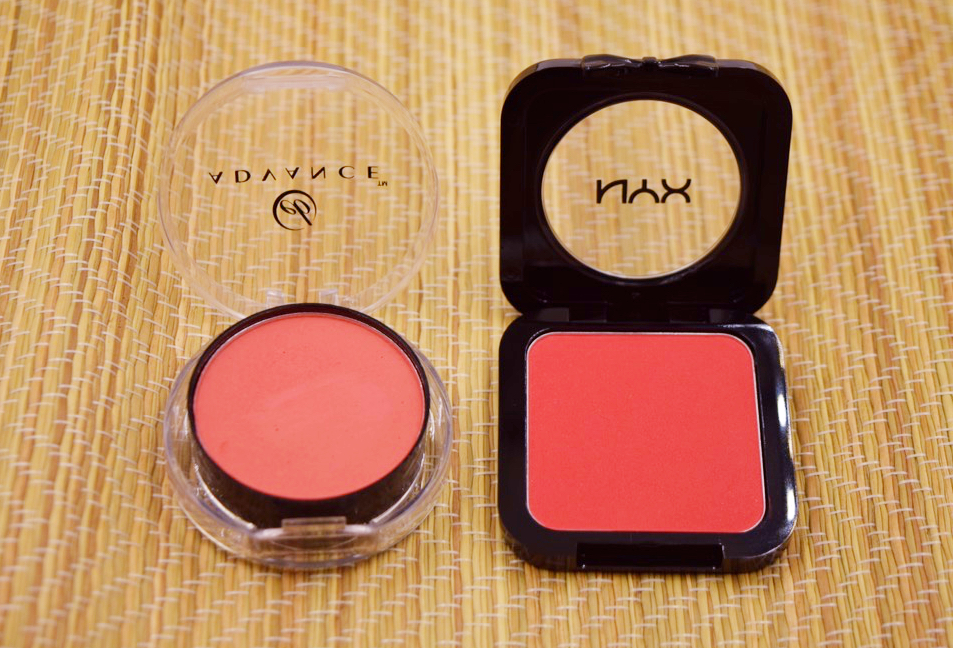 Ever Bilena Advance Cheek Color in Poppy (left) and NYX HD Blush in Crimson (right)