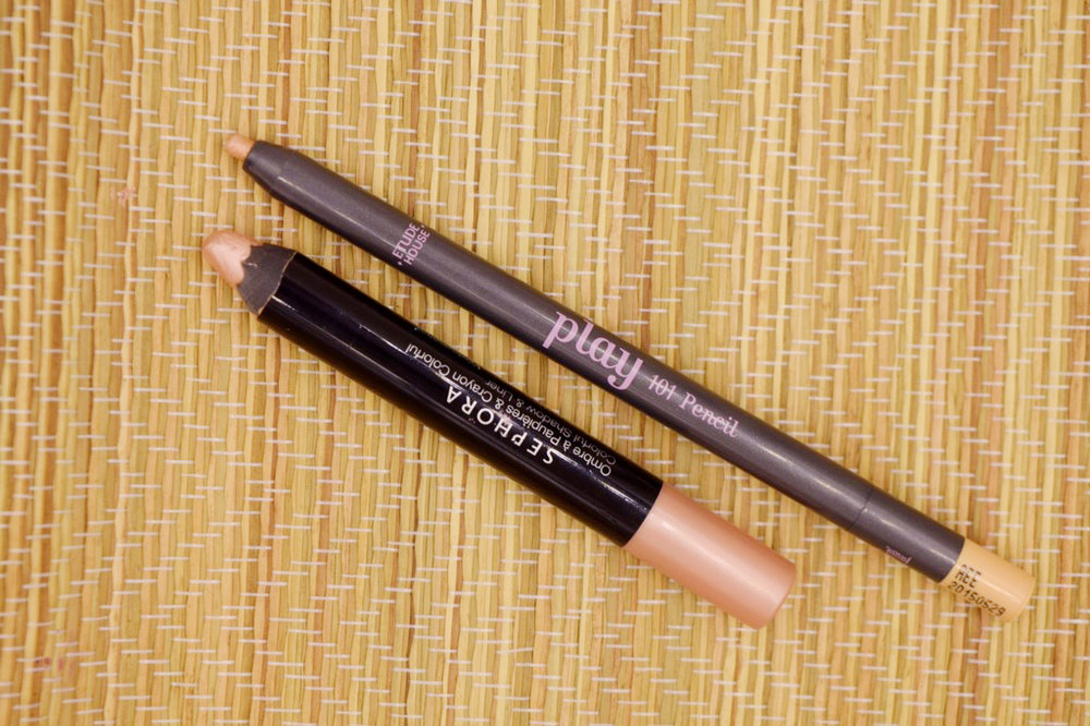 Sephora Colorful Shadow and Liner in Beige (left) and Etude House Play 101 Pencil (right)