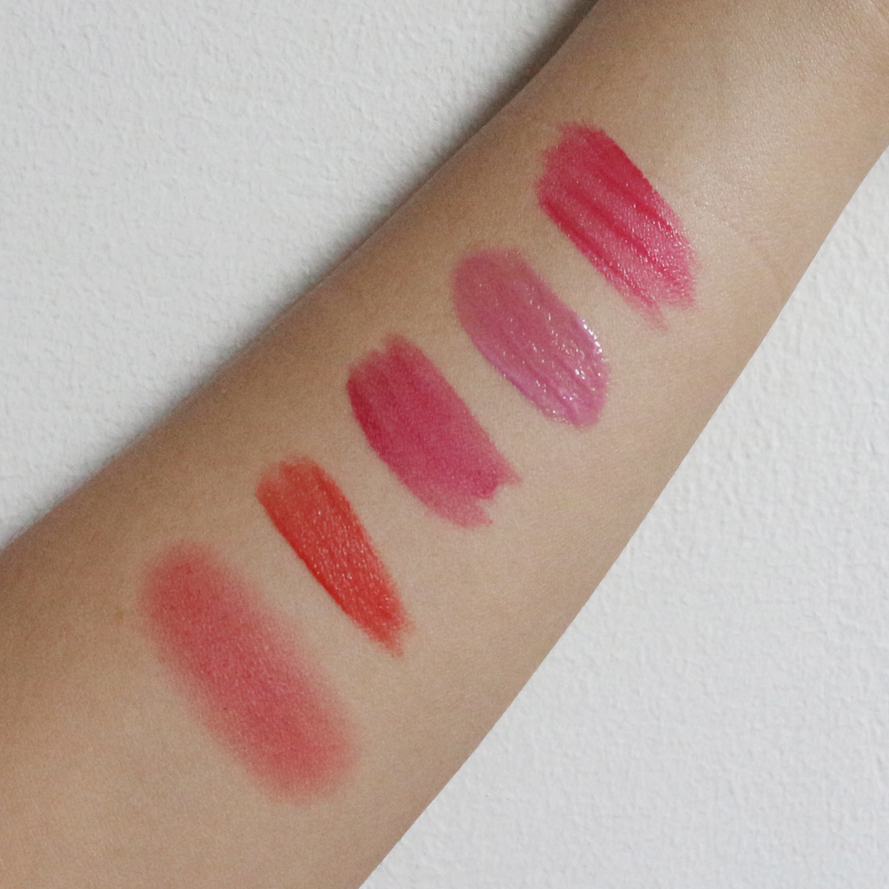 From left: Holika Holika Holy Berry Tint, Tony Moly Kiss Lover Lip Master, TheSAEM Saemmul Real Tint, Witch's Pouch Radiant Tint, Yadah All Day Tint