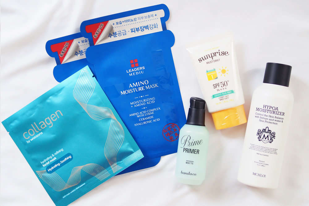 Facial masks from Watsons and Leaders, Banila Co Prime Primer Classic Matte (P1,090), Etude House Sun-Prise Must Daily SPF50+/PA+++ (P478 via Althea Korea), M-Chloi Hypoa Moisturizer (via BeautyLab Whitening by Suaviss)