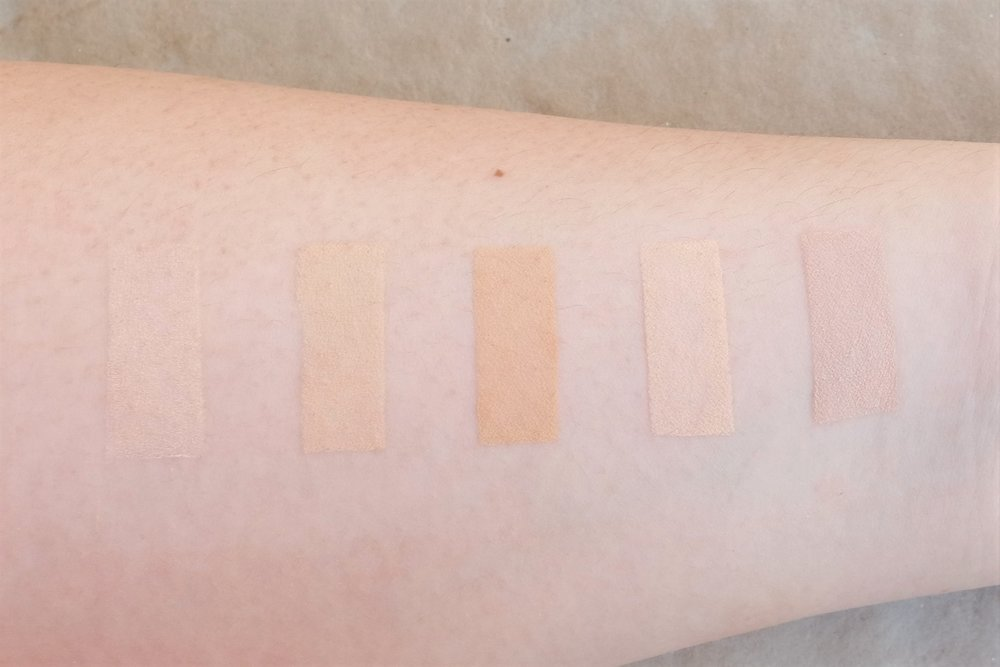 From left: Nichido, Maybelline, Ever Bilena, Silky Girl, and Covergirl