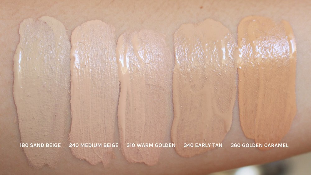 These are Revlon Colorstay swatches. The shades look convincingly yellow in the swatch, but all of them sans Sand Beige (ironically) have a red undertone when blended. Still a great formula though. Full review here.