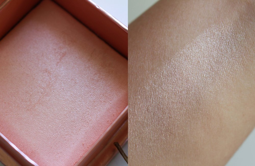 The powder is well-milled though it has some kick-up; there are no visible sparkles on skin as the shimmers are fine