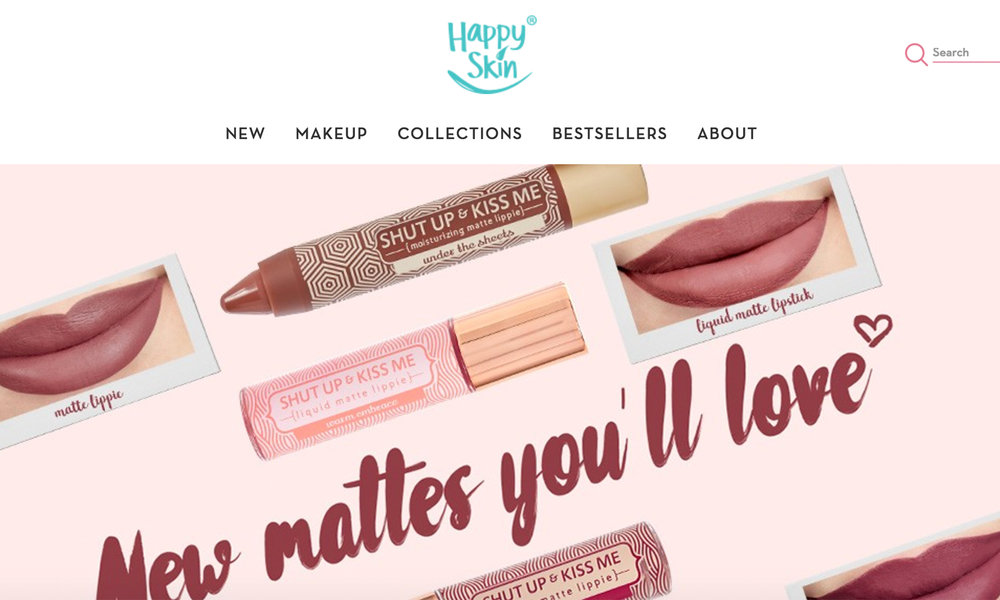 Screen capture of happyskincosmetics.com