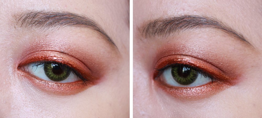 Here's a hot look for you! I used the first six shades from the left here and paired it with a metallic eyeliner.
