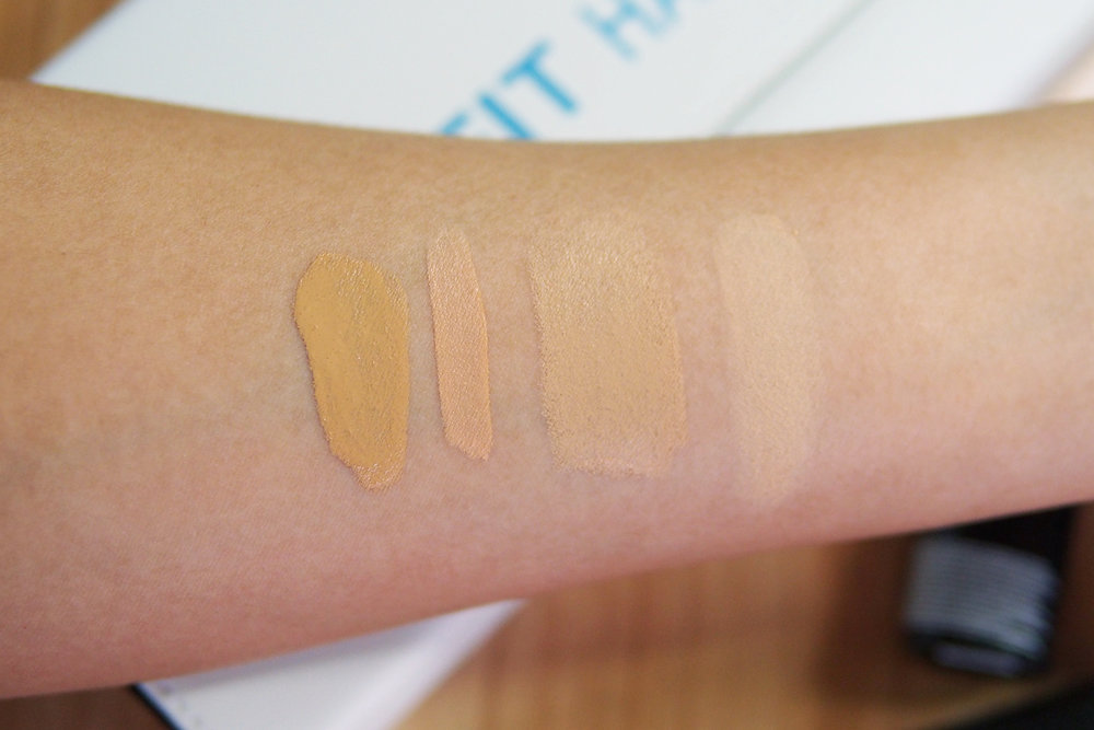 From left: Maybelline Fit Me Liquid Foundation, Concealer, Foundation Stick, Pressed Powder