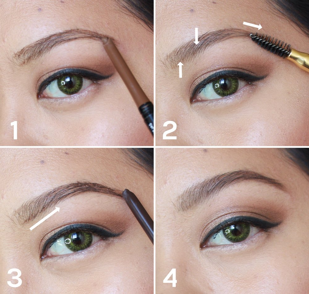 Step 3 using a darker shade of pencil draw another line at the bottom of your brows and thicken the tail this is also your opportunity to either enhance