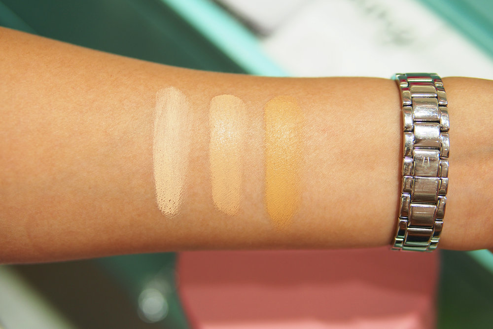 Unblended swatches of the Benefit Boi-ing Airbrush Concealer in #1, #2, #3