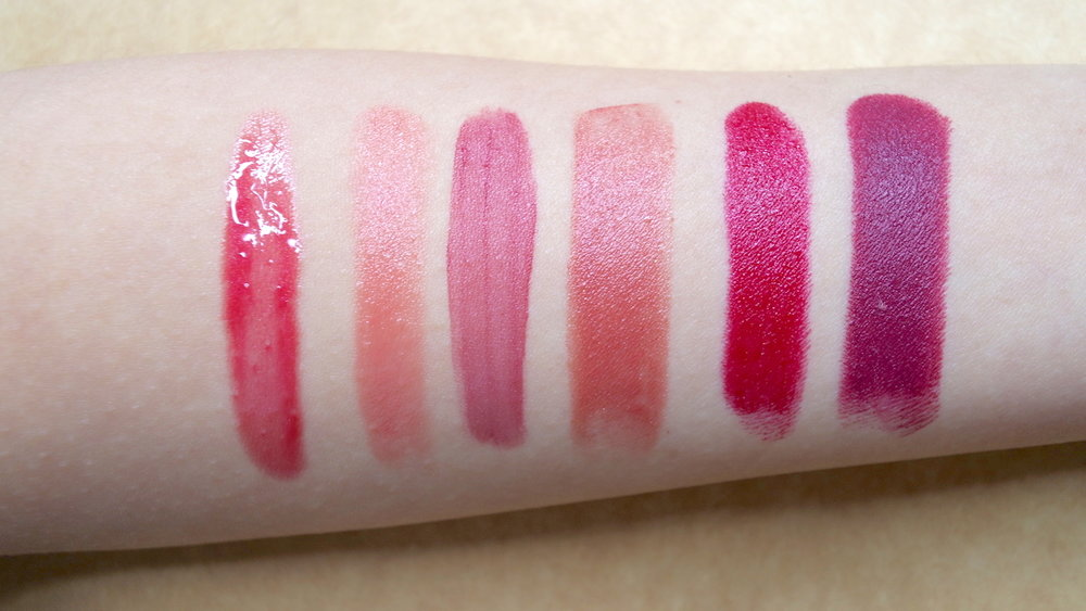 The six basic lipstick finishes: (from left)Gloss, Sheer, Tint, Cream, Satin, and Matte