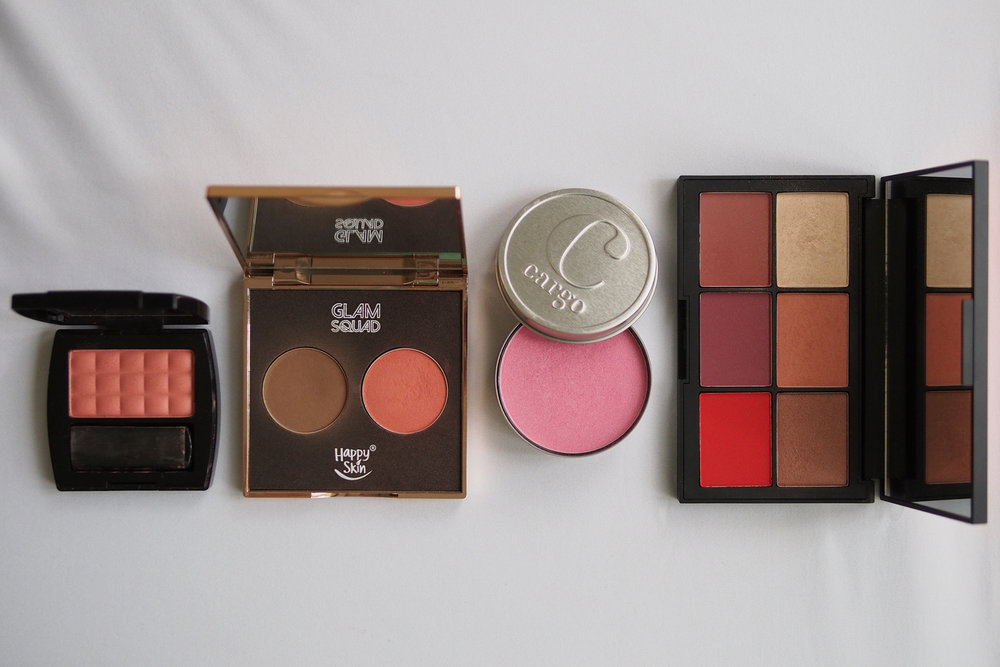 From left: Features & Shades Powder Blush in Georgia Peach (~P98.75/g), Happy Skin Glam Squad Contour & Color (~P215.33/g), Cargo Water Resistant Blush in Ibiza ~(P113.64/g), Nars Blush in Exhibit A (~P354/g)