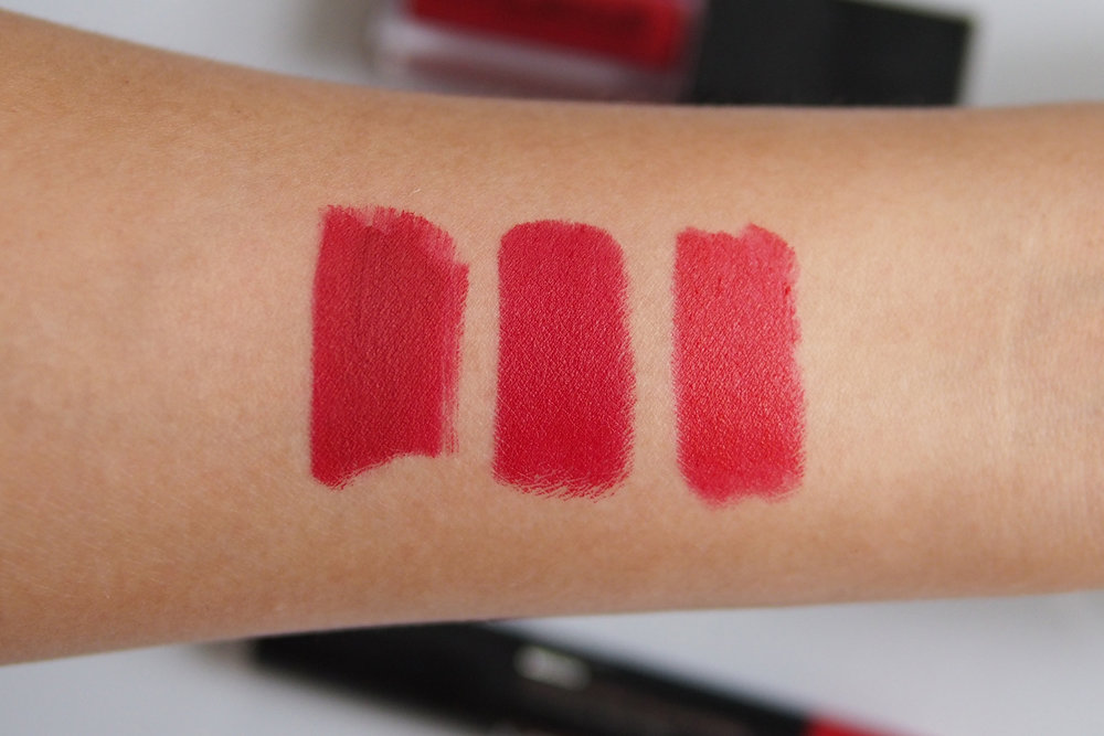 From left: Smashbox Always On Liquid Lipstick in Bawse, Maybelline Loaded Bolds Lipstick in Smoking Red , Catrice Matt Lip Artist 6hr Lipstick in Reditorial