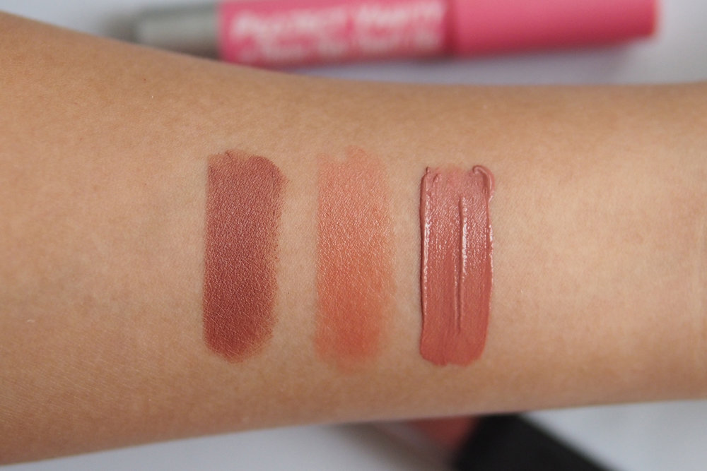 From left: Pink Sugar x Project Vanity These Lips Don't Lie Matte Lip Crayon in Love At First Swipe, Lunasol Feathery Stick Lips EX02, Sleek Makeup Matte Me in Birthday Suit