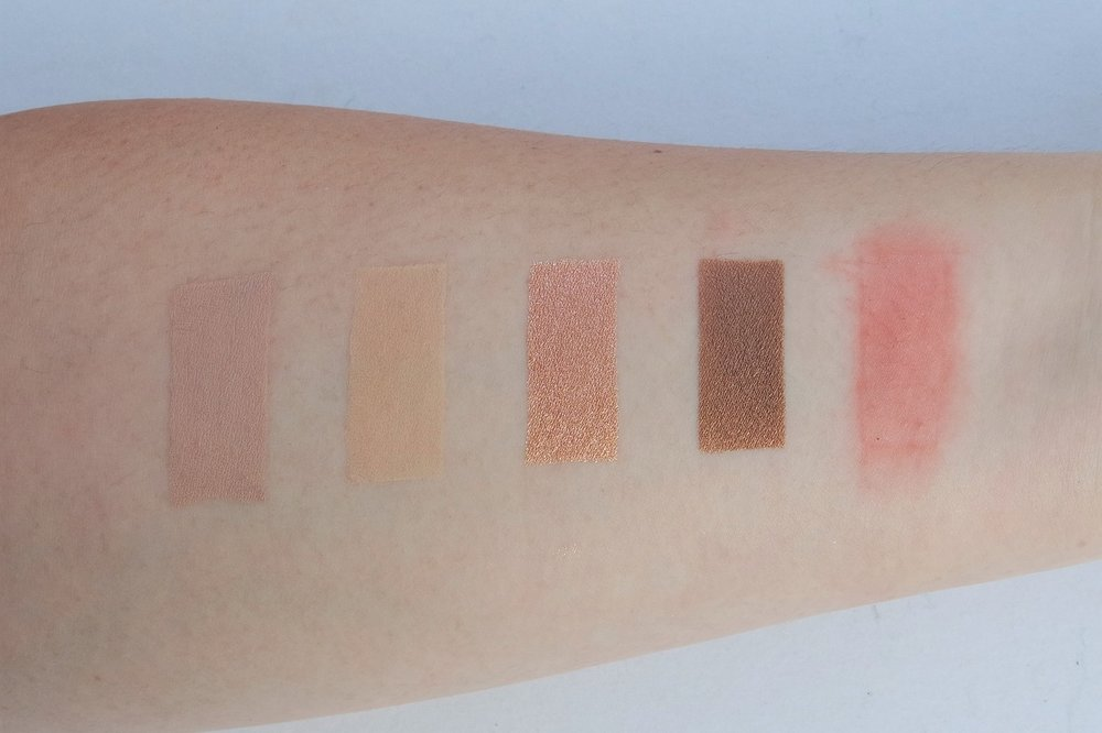 From left:Mistine BB Cream, Maybelline Powder Foundation, Suesh E87 and E66, and Skin Genie Lip and Cheek Stain
