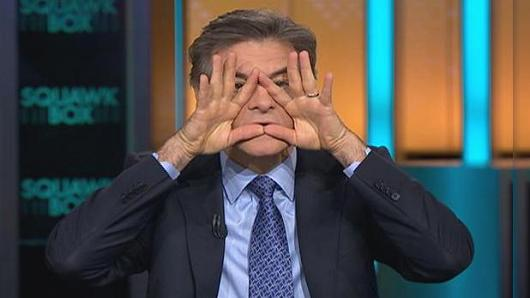 "Dr. Oz outlines the ""triangle of death."" Not sure if he's an illuminati. Image via CNBC.com"