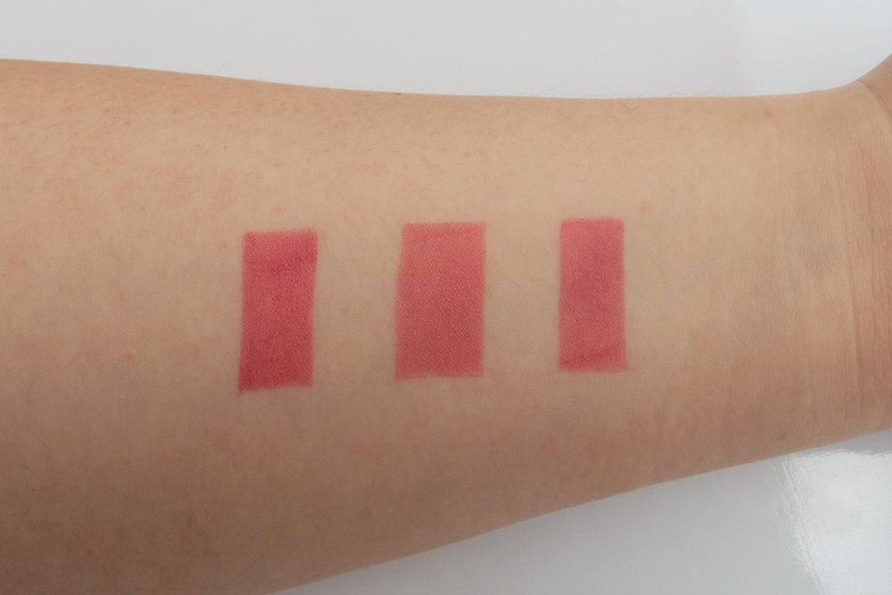 Swatches,from left: Pink Sugar, Happy Skin, and Bobbi Brown