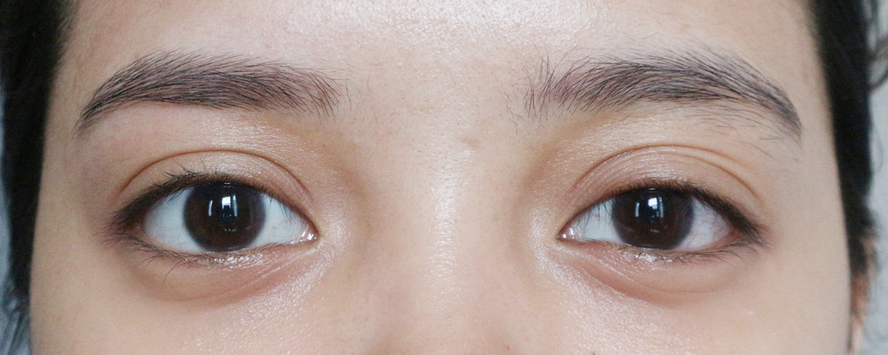 What a difference a well-groomed brow makes! Bare, just-cleaned brows on the left and month-old ungroomed brows on the right