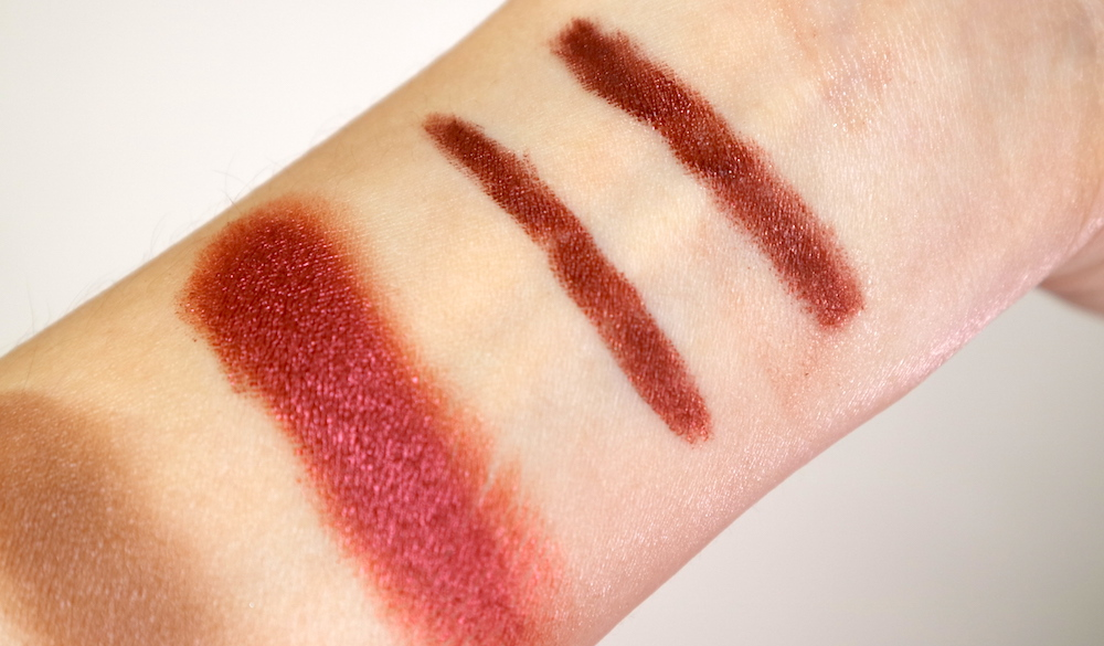 Swatches, from left:  Eyecrush Shimmer Foil in RD01 Lust Red,  Eyecrush Dual Fix Liner in  04 Cherry Wood  bare and with fixer