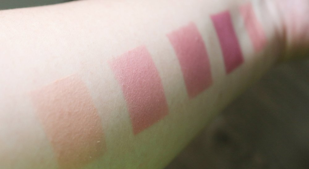 Swatches, from left: FS Cosmetics, EB Advance, Happy Skin, Pink Sugar, Chihuahua