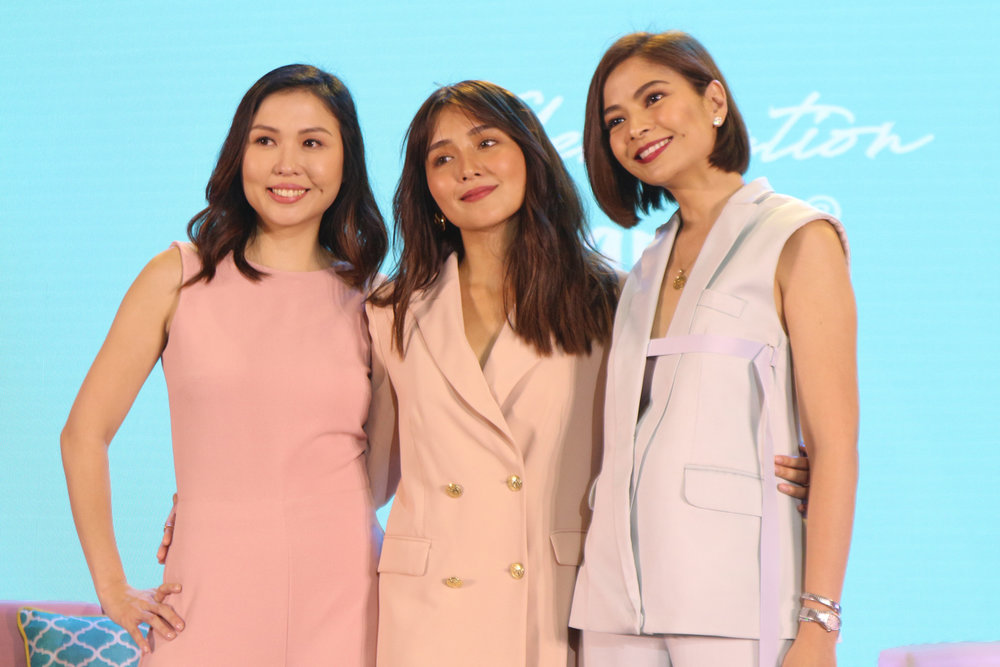 Kathryn Bernardo with Happy Skin owners, Jacqe Yuengtian-Gutierrez and Rissa Mananquil-Trillo