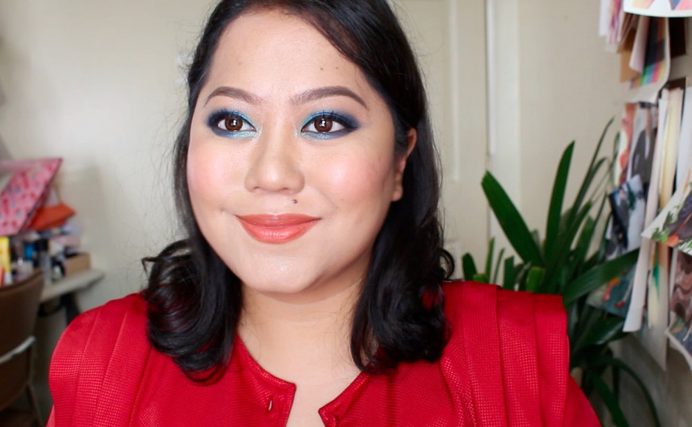 Watch this video  to see the Revlon Insta-Filter foundation in action + how I did this smoky blue denim look