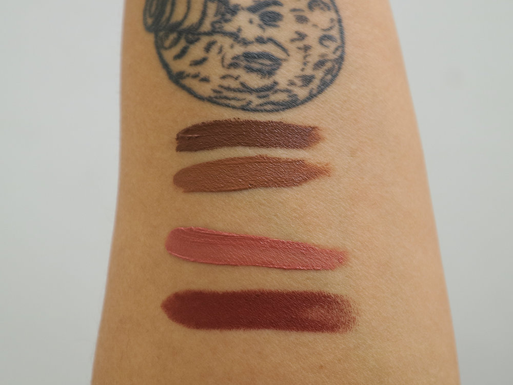 Swatches, from top: Gorgeous (from K-Beauty collection for comparison), The Bomb, Booyah, Peace Out