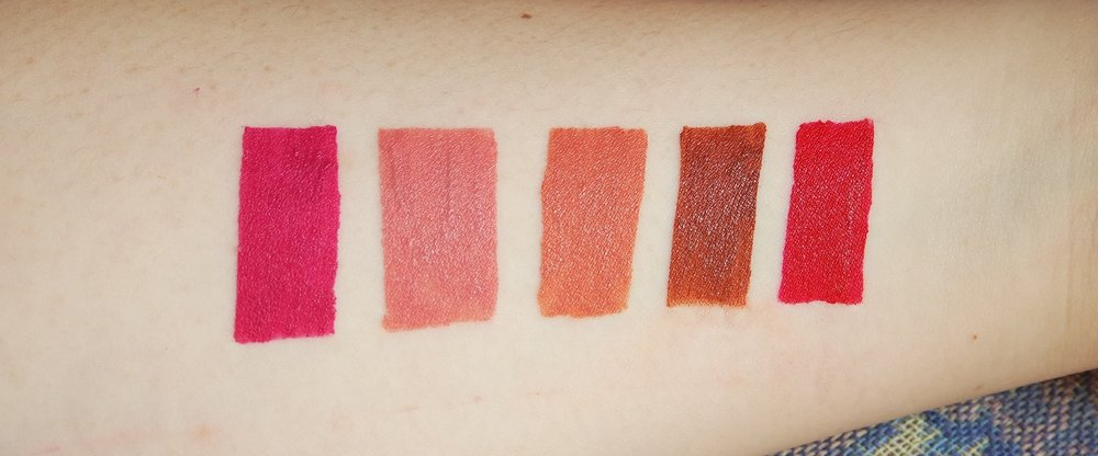 Swatches, from left: Go Girl!; She Lovin It; Off She Goes; So She-ic; and She's On Fire