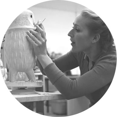 Portrait of Sophie Woodrow, ceramic artist making porcelain mythical animals