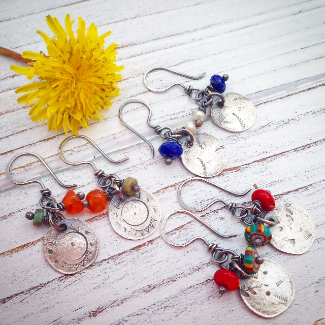 Sterling Discs with Colorful Beads/2016/Stacie Florer