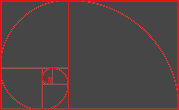 The Fibonacci Spiral created from the Golden Ratio.