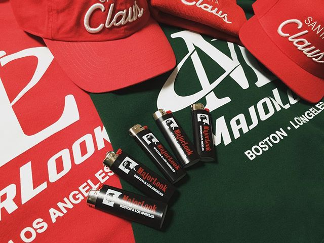 Warm up this winter with Christmas colorway logo hoodies, Santa hats and Maj Man bic lighters! #droppingsoon #staytuned