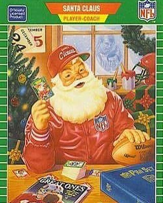 Front of NFL Pro Set Santa Trading card that inspired our hat  Available tonight at 6PM/9PM EST at major look Boston.com