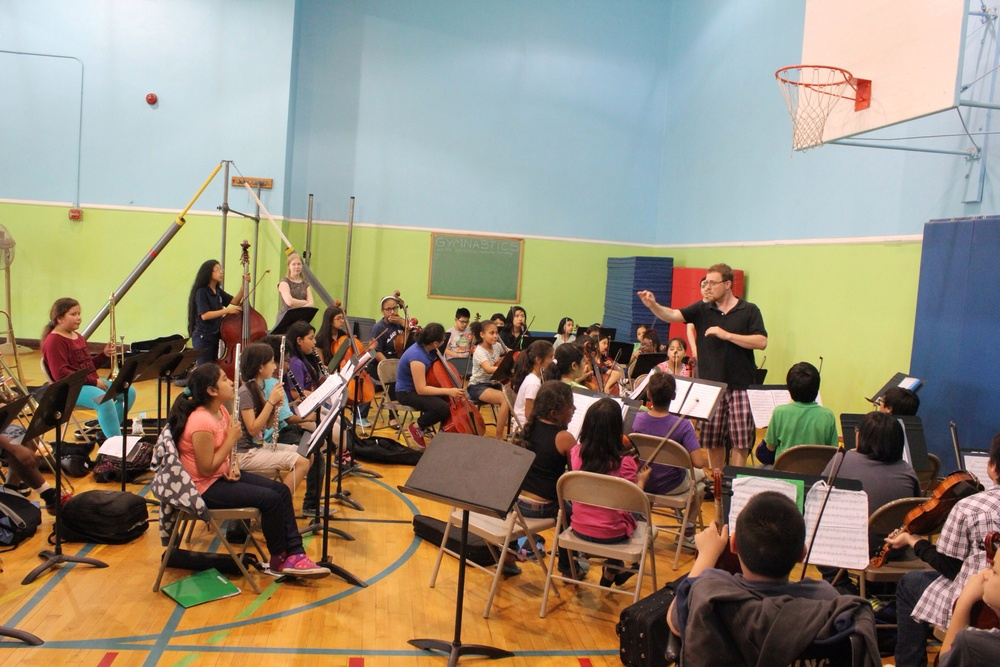 The younger youth orchestra rehearses Tchaikovsky.