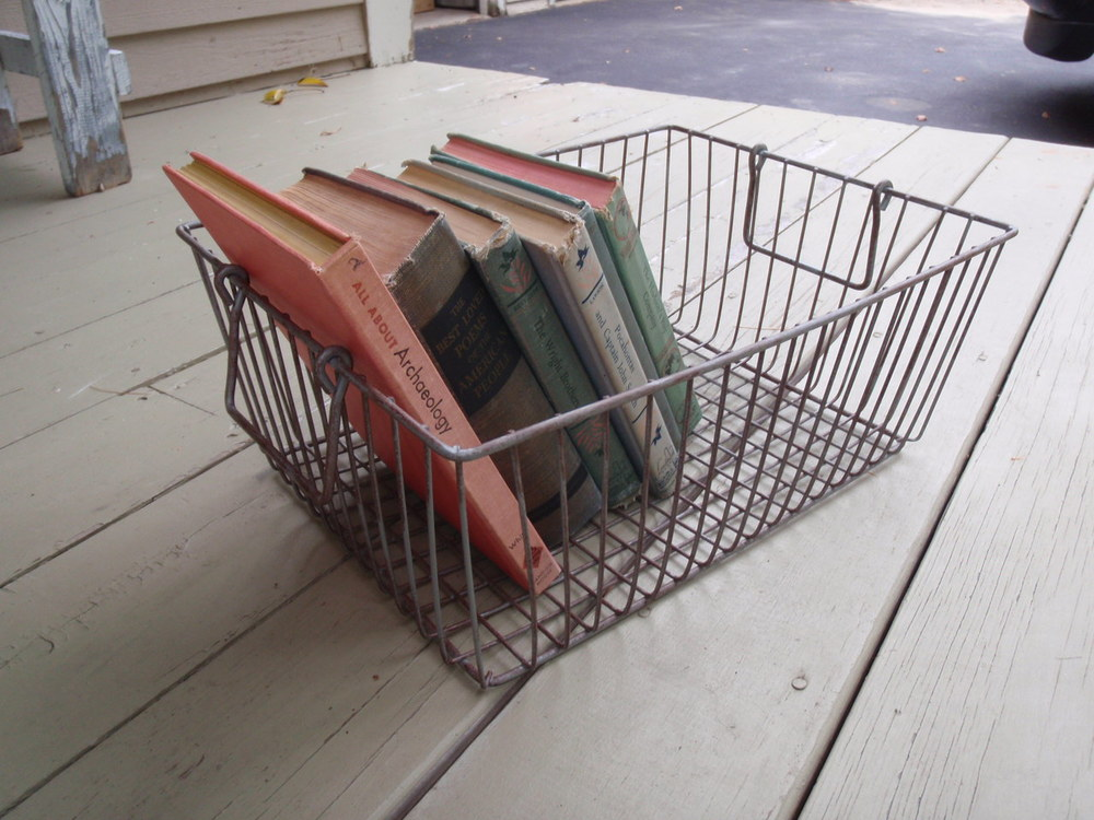 Vintgae Books & Wire Basket.JPG