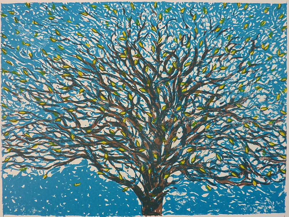 'Spring' 2016, a limited edition lithograph in 3 colours, printed by the Curwen press