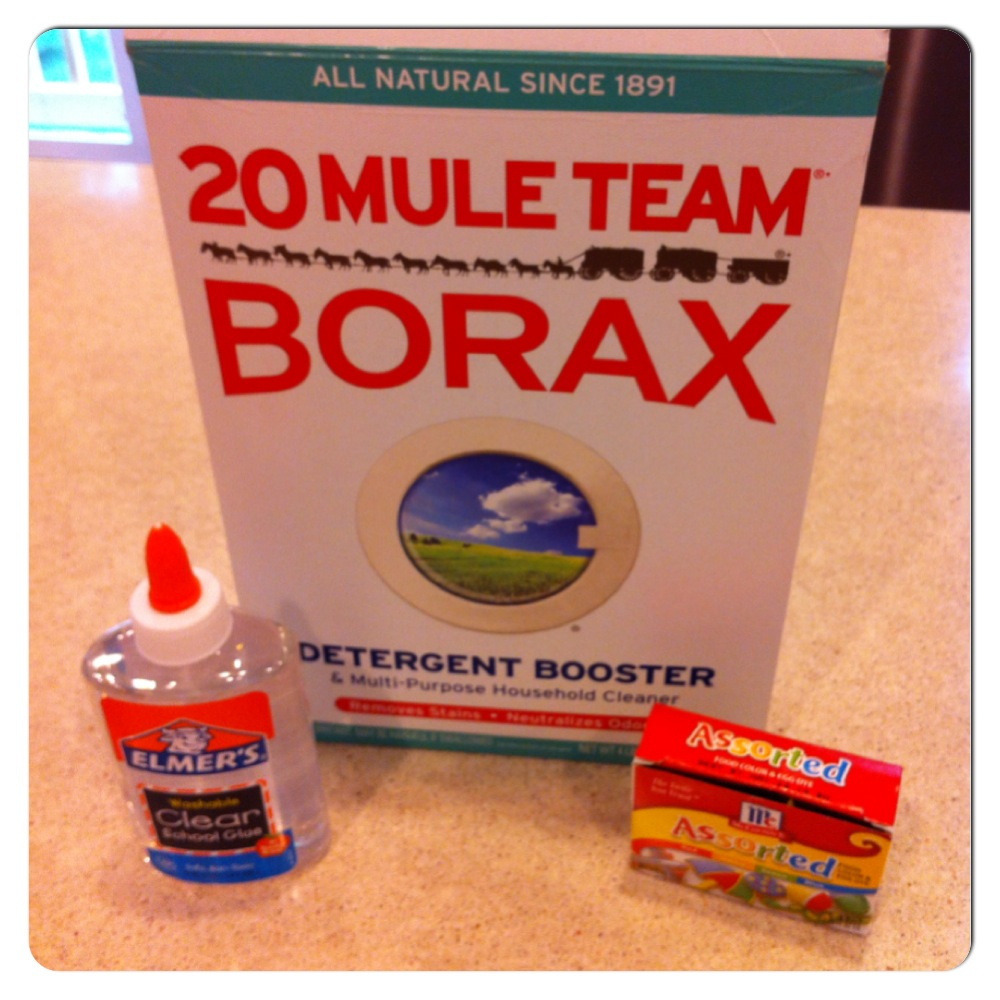 To Make Slime You Need Borax, Clear Elmer's Glue, Food Coloring And Water  Are