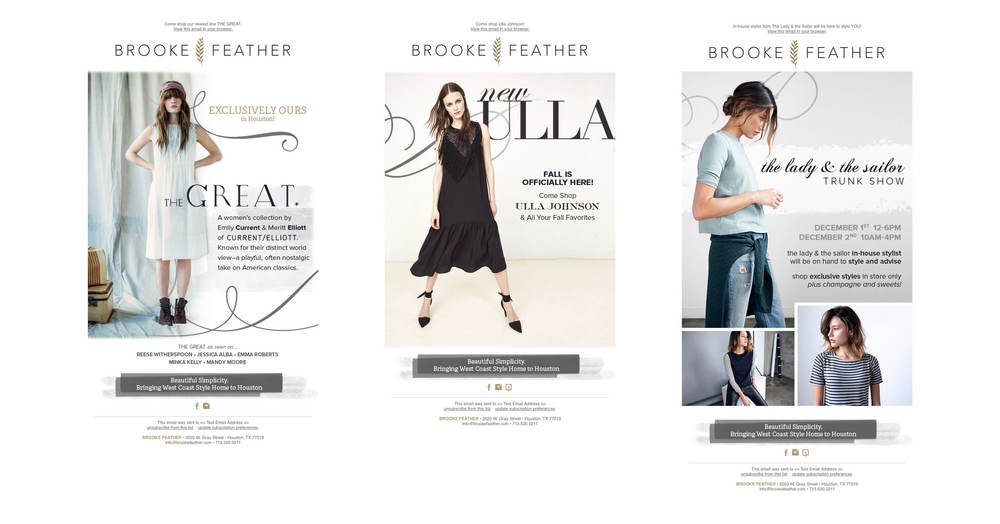 Email Campaigns: Photography courtesy of The Great, Ulla Johnson, and The Lady & The Sailor.