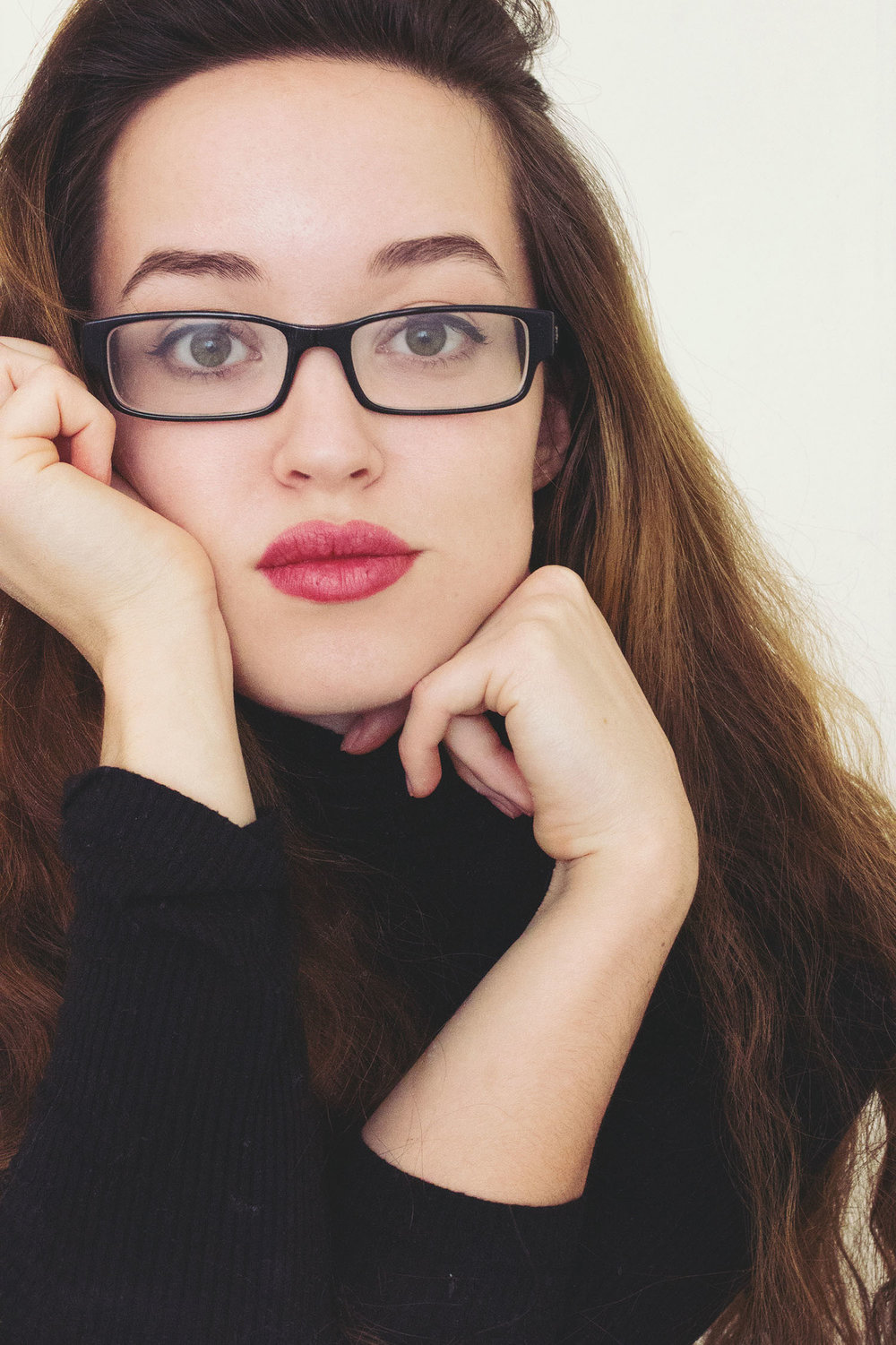 self portrait, emily joy wilson, glasses, hair, style, fashion, red lipstick
