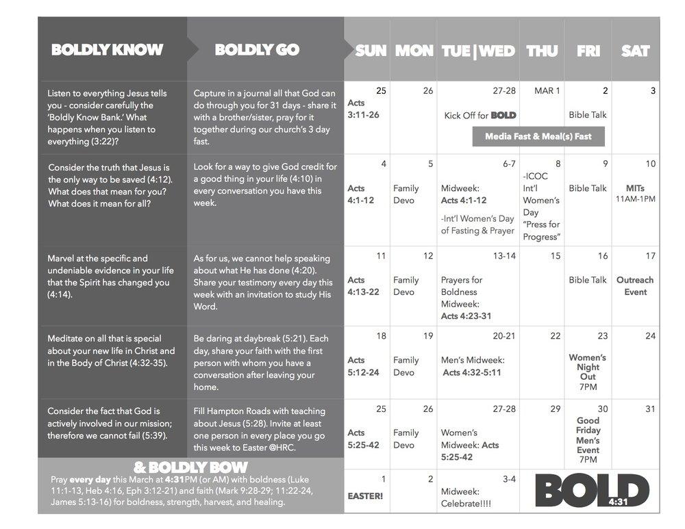 Bold campaign schedule -