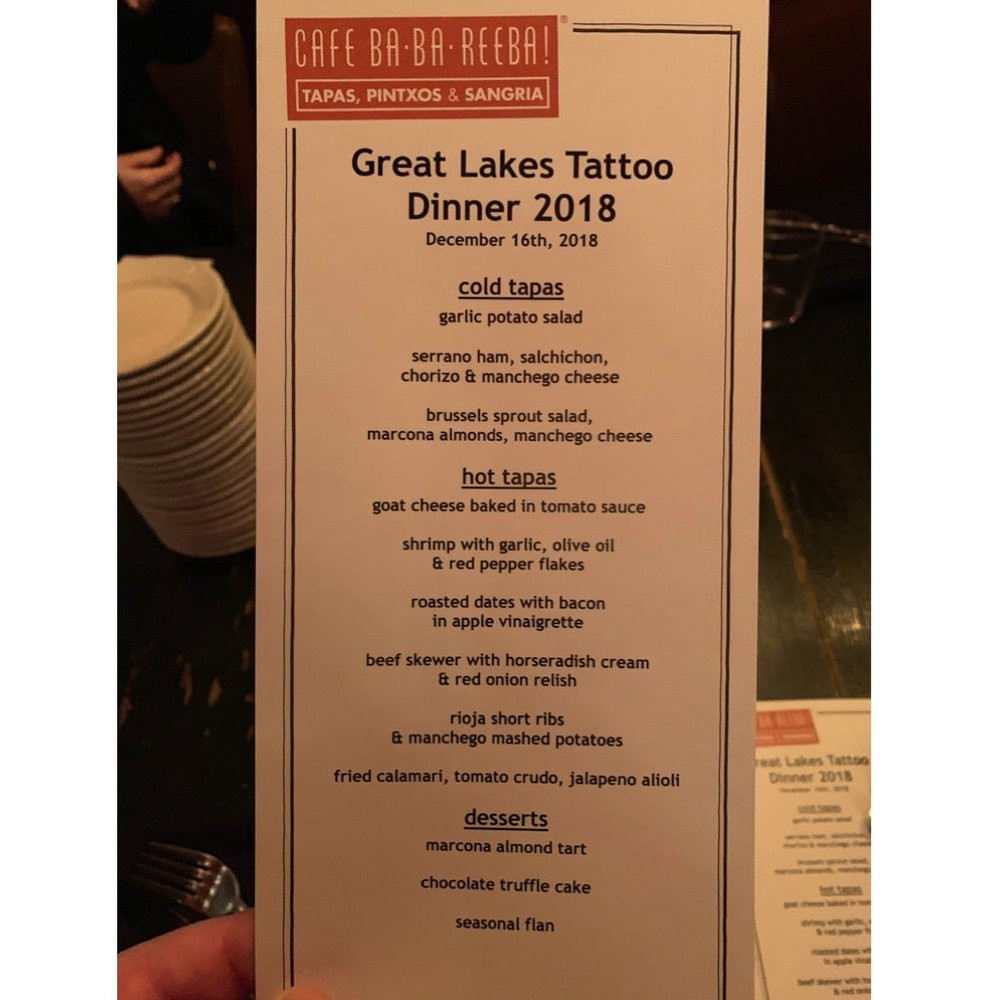 Great Lakes Tattoo dinner at Cafe Baba Reeba