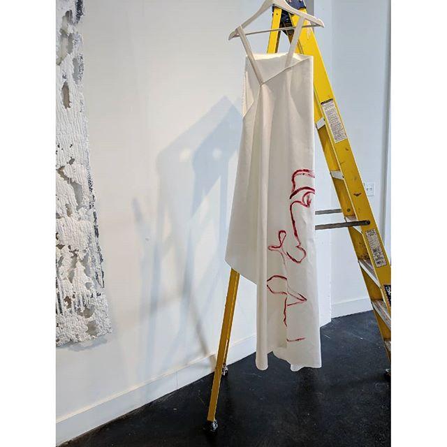 My favorite rotating piece to install. White denim dress and painted face.  ________________________________________ #denim #whitedenim #deconstructedfashion #paintedface