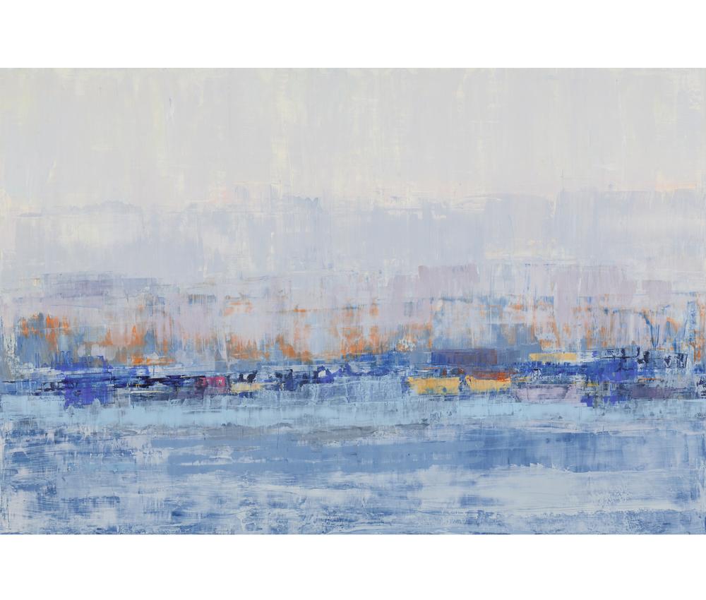 "Lavender-Grey & Saffron, 2015, oil on wood panel, 48""x72"""