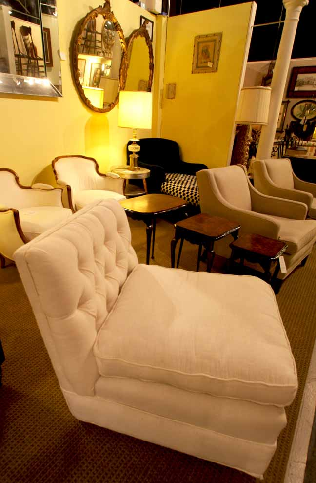 Hiden Galleries: pair of antique French chairs and armless chairs in white linen