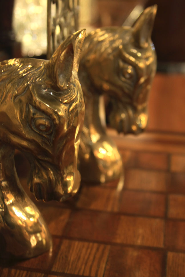 Hiden Galleries: 1950s horse head bookends on c1930s game table