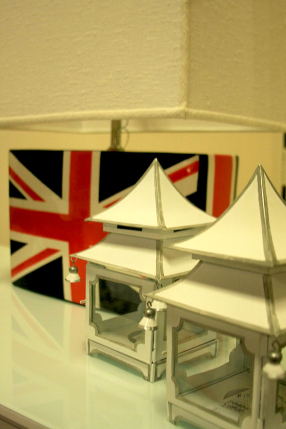 Hiden: pagoda votives and Union Jack lamp